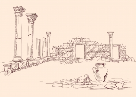 hellenic: Ruins of temple ,  - archaeology hand drawn