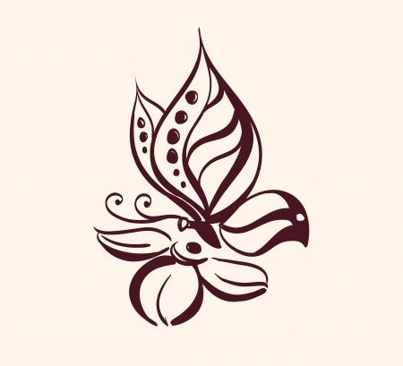 butterfly abstract: Mariposa abstracta en flor Vectores