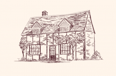 english village: old English house