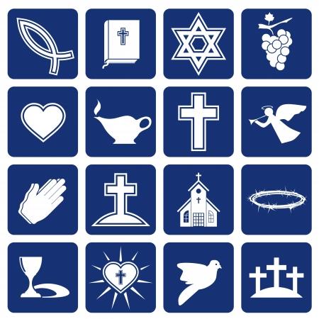 christian angel: conjunto de iconos religiosos de la cristiandad Vectores