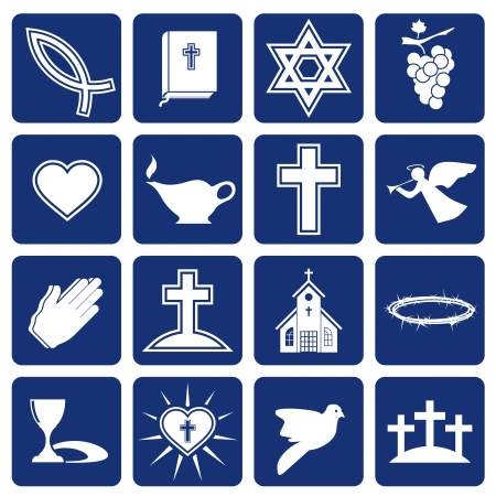 christian prayer: set of  icons of religious christianity