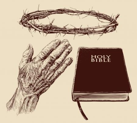 humility: colección cristianismo-dibujado a mano Vectores