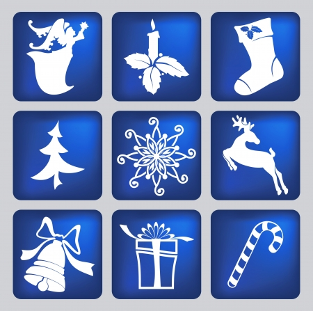 fake christmas tree: christmas icons silhouettes Illustration