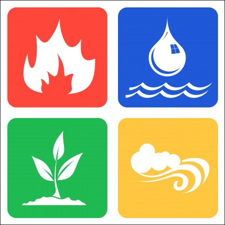 cuatro elementos: Los iconos de Tierra, Aire, Fuego y Agua Vectores