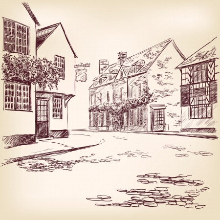 country house style: old English street  hand drawn