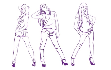 casual dress: Fashion girls  Sketch  Vector illustration
