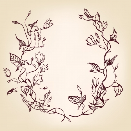 floral frame  hand drawn vintage  Stock Vector - 15466700