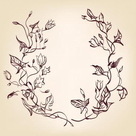 floral frame  hand drawn vintage Stock Vector - 15466700