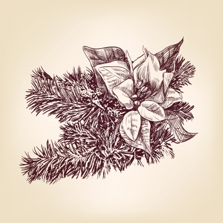 Christmas decorations hand drawn vintage Vector
