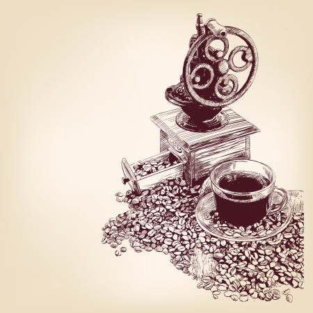 grinder: coffee hand drawn vector llustration