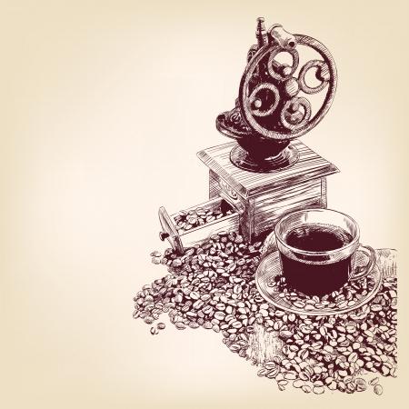 chicchi di caff�: disegnato a mano il caff� llustration vettore