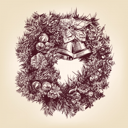 christmas wreath hand drawn vintage Vector