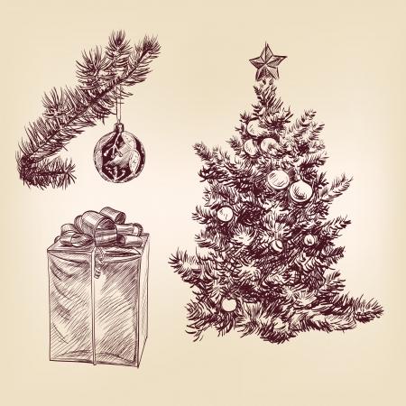 christmas collection hand drawn Vector