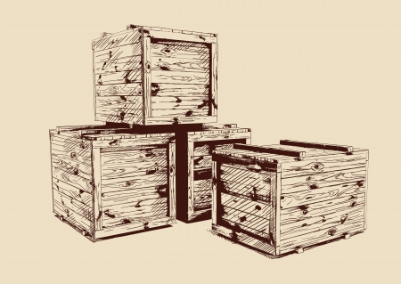 vintage  wooden crates drawn Vector