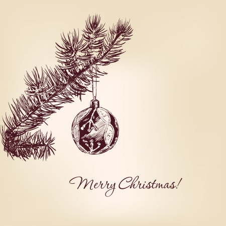 christmas branches and ball hand drawn Vector