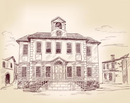 saloon: mano antigua calle dibujado Vectores