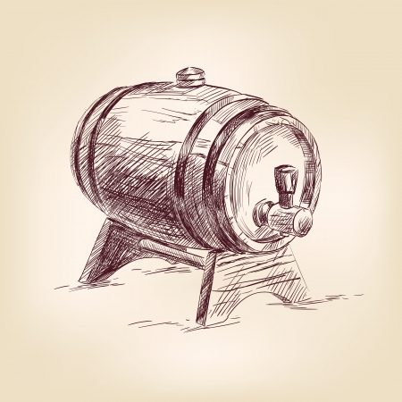 cask of wine drawing  illustration Vector