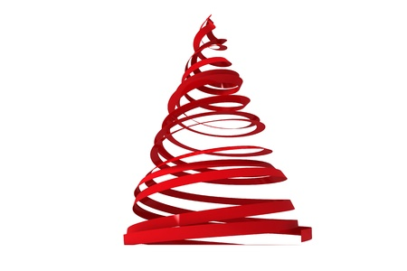 Christmas tree from ribbons isolated on white background Stock Photo - 15802396