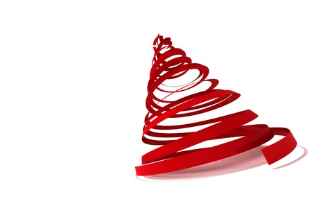 Christmas tree from ribbons isolated on white background Stock Photo - 15802394