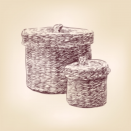 basket   hand drawn  vector Vector