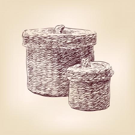 hand basket: basket   hand drawn  vector Illustration
