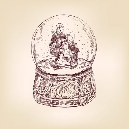 christmas nativity: christmas snow globe hand drawn
