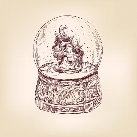 sacra famiglia: Natale mano disegnato snow globe Vettoriali