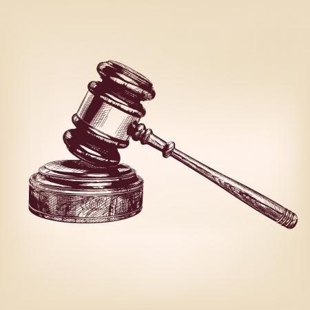 orden judicial: martillo dibujado mano de la vendimia