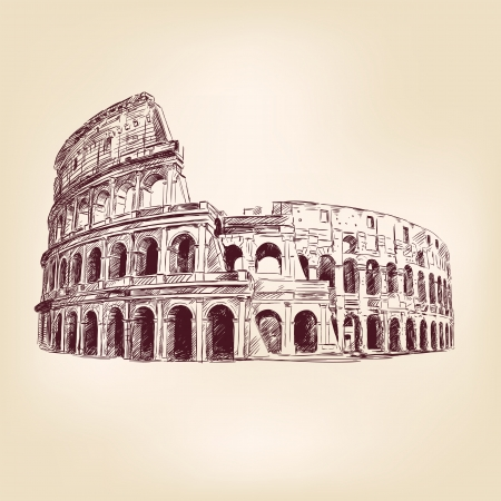 cultura italiana: Coliseum - disegnata a mano Vettoriali