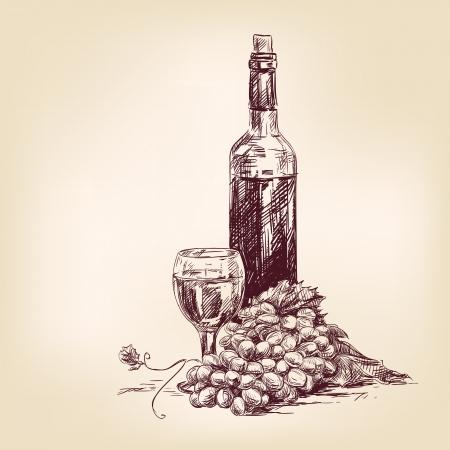 wijn en spijzen: druiven met een fles wijn en glas Stock Illustratie