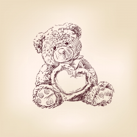 plush: illustration of  teddy bear with  heart
