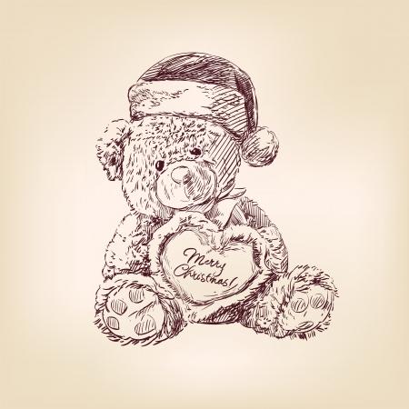 christmas  illustration of teddy bear