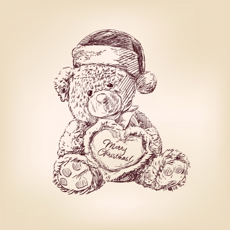 vintage teddy bears: Natale illustrazione di orsacchiotto Vettoriali