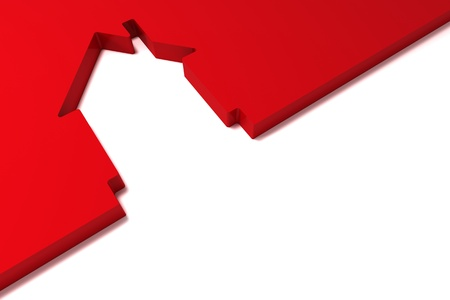 abstract red house  isolated on white background Imagens