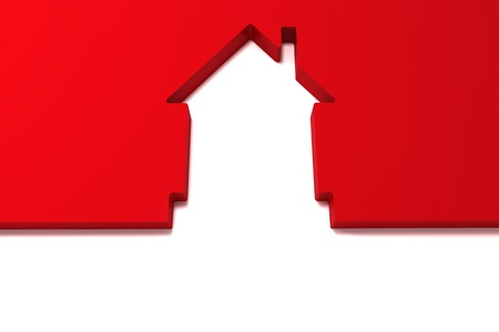 abstract red house  isolated on white background Stock Photo - 16128744