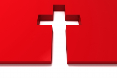christian symbol: abstract red cross isolated on white background Stock Photo