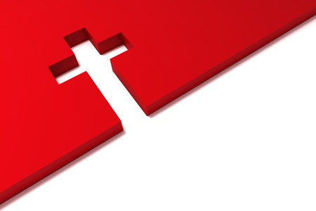 the catholic church: abstract red cross isolated on white background Stock Photo