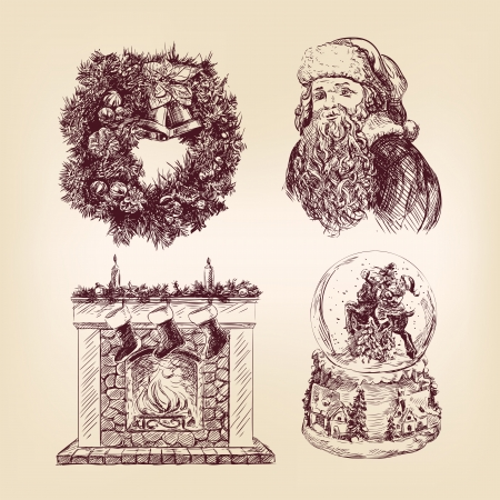 old fashioned christmas: christmas  hand drawn  set Illustration