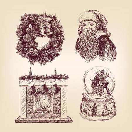 fireplace christmas: christmas  hand drawn  set Illustration