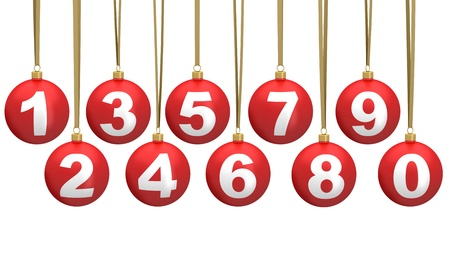 christmas ball numbers - setof number Stock Photo - 16255929