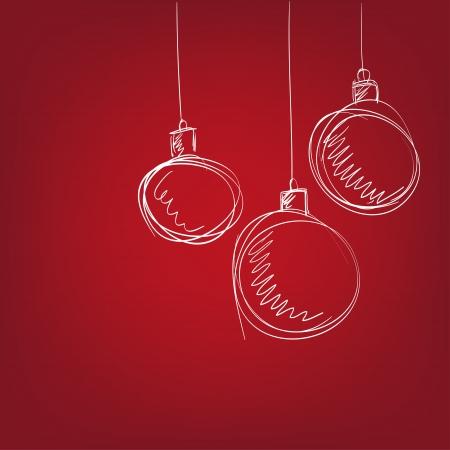 Christmas balls - hand drawn  vector illustration  isolated Stock Vector - 16383699