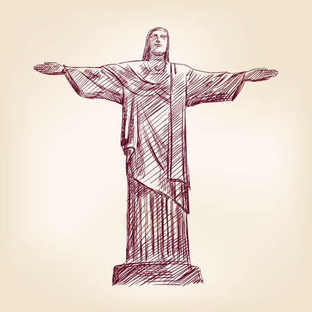 freehand drawing: statue of Jesus Christ in Rio de Janeiro