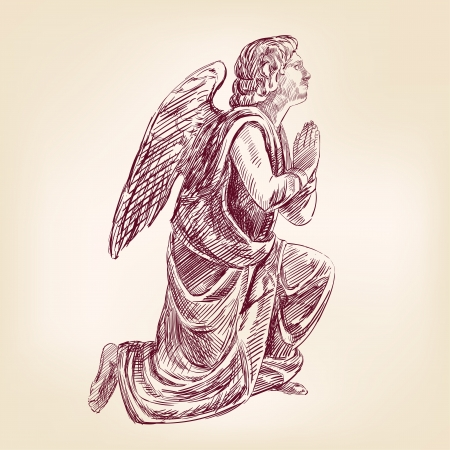 guardian angel: angel hand drawn Illustration