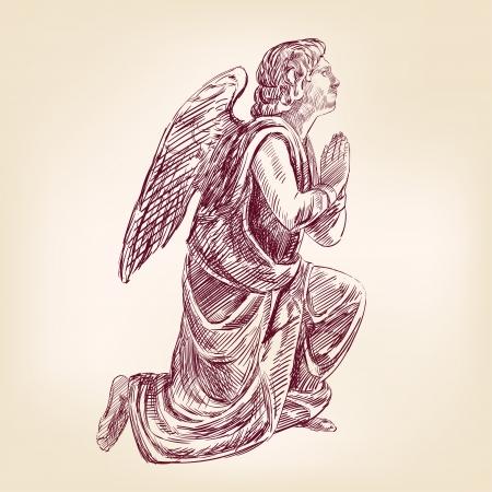 angel de la guarda: ángel dibujado a mano