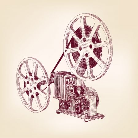 film projector: old film projector  hand drawn Illustration