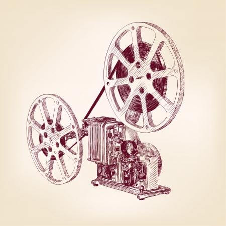 viejo proyector cinematográfico dibujado a mano Ilustración de vector
