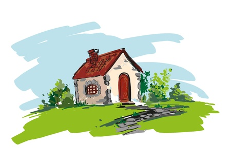 farmhouse illustration Stock Vector - 16925602