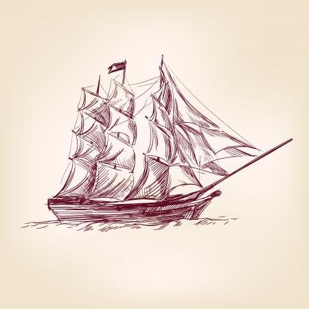 rope ladder: ilustraci�n de la vendimia viejos barcos
