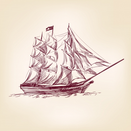 vintage old Ships illustration  Stock Vector - 17193644