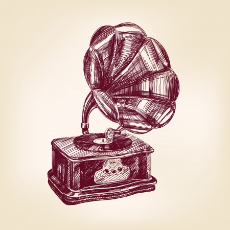 gramophone vintage illustration Stock Vector - 17231427